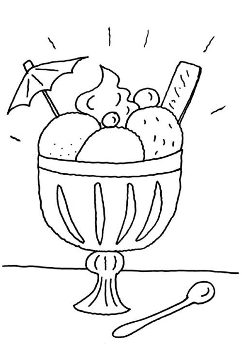 Kostenlose Malvorlage Menschen und ihr Zuhause: Eisbecher zum Ausmalen
