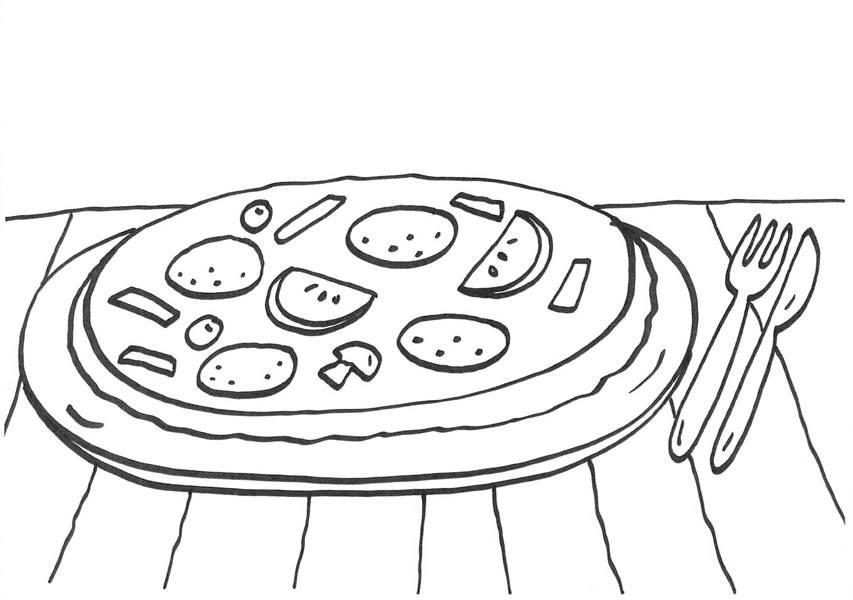 Kostenlose Malvorlage Menschen und ihr Zuhause: Pizza zum Ausmalen ...