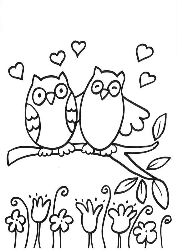 Ausmalbild Eulen: Verliebte Eulen kostenlos ausdrucken