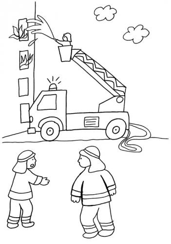 Kostenlose Malvorlage Feuerwehr Feuerwehreinsatz Zum Ausmalen