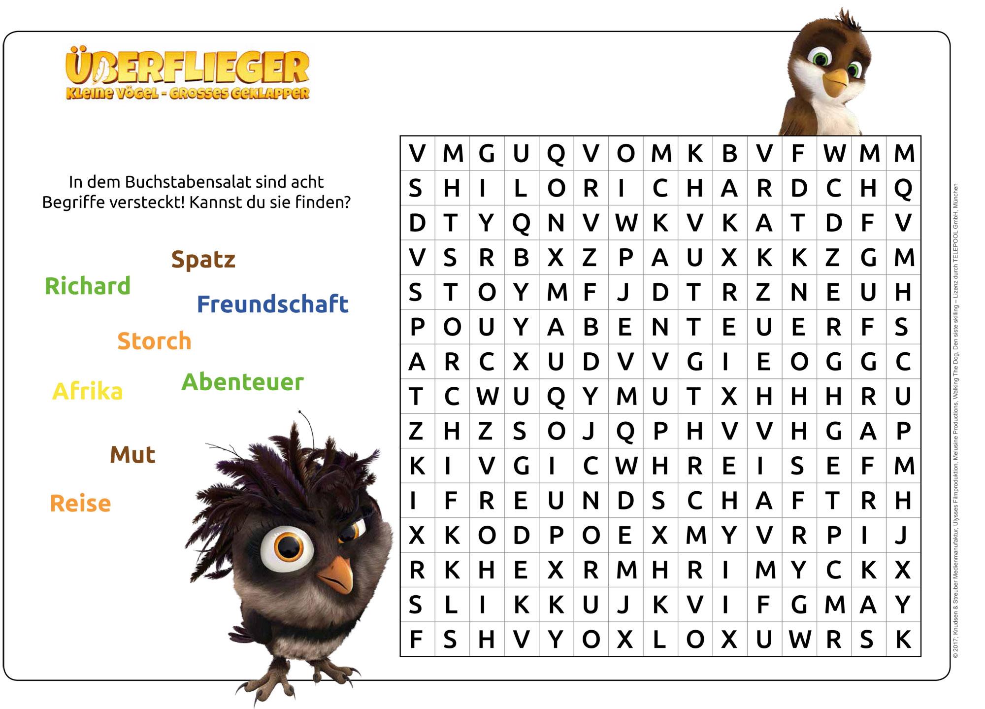 Ausmalbild Bilderkreuzworträtsel und Sudoku: Buchstabensalat ...