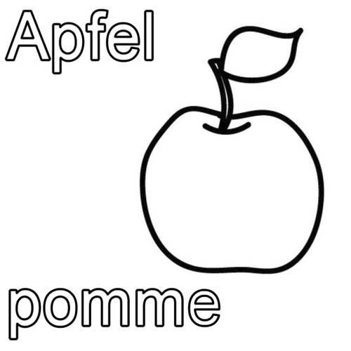 kostenlose malvorlage franz sisch lernen apfel pomme zum ausmalen. Black Bedroom Furniture Sets. Home Design Ideas