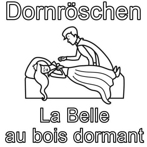 Kostenlose Malvorlage Französisch Lernen Dornröschen La Belle Au