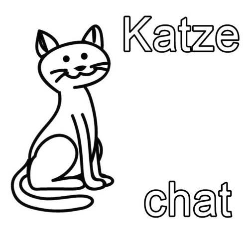 kostenlose malvorlage französisch lernen katze  chat zum