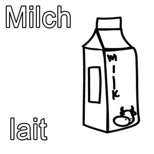 Kostenlose Malvorlage Französisch lernen: Milch - lait zum Ausmalen