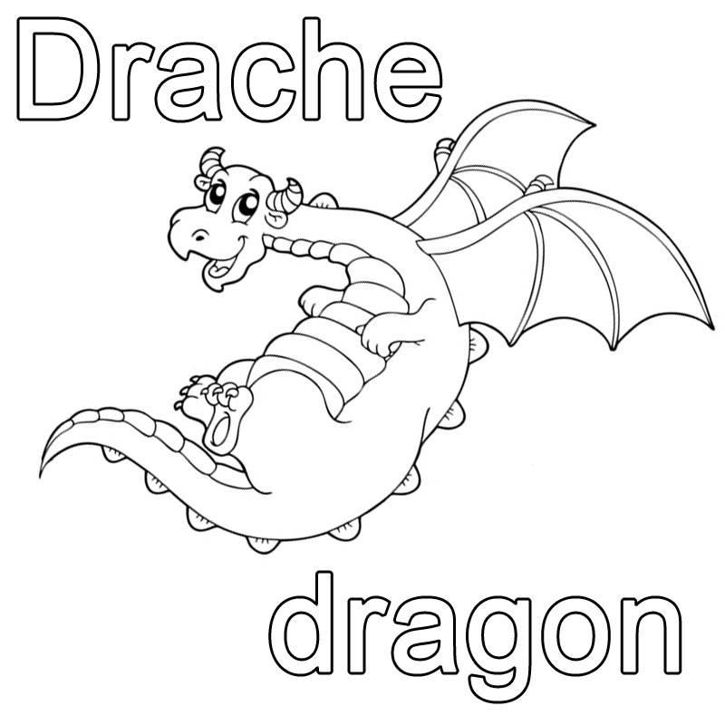 ausmalbild französisch lernen drache  dragon kostenlos