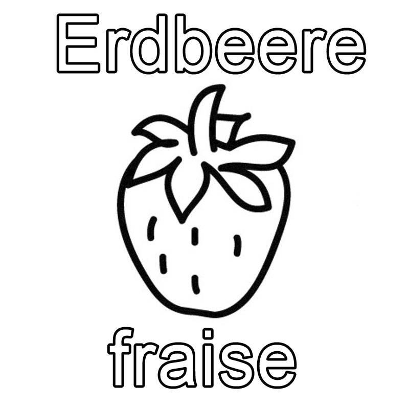 Ausmalbild Französisch Lernen Erdbeere Fraise Kostenlos Ausdrucken
