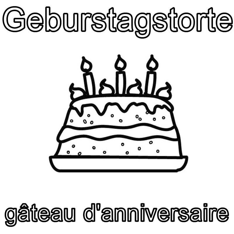 Ausmalbild Französisch Lernen Geburtstagstorte Gâteau D