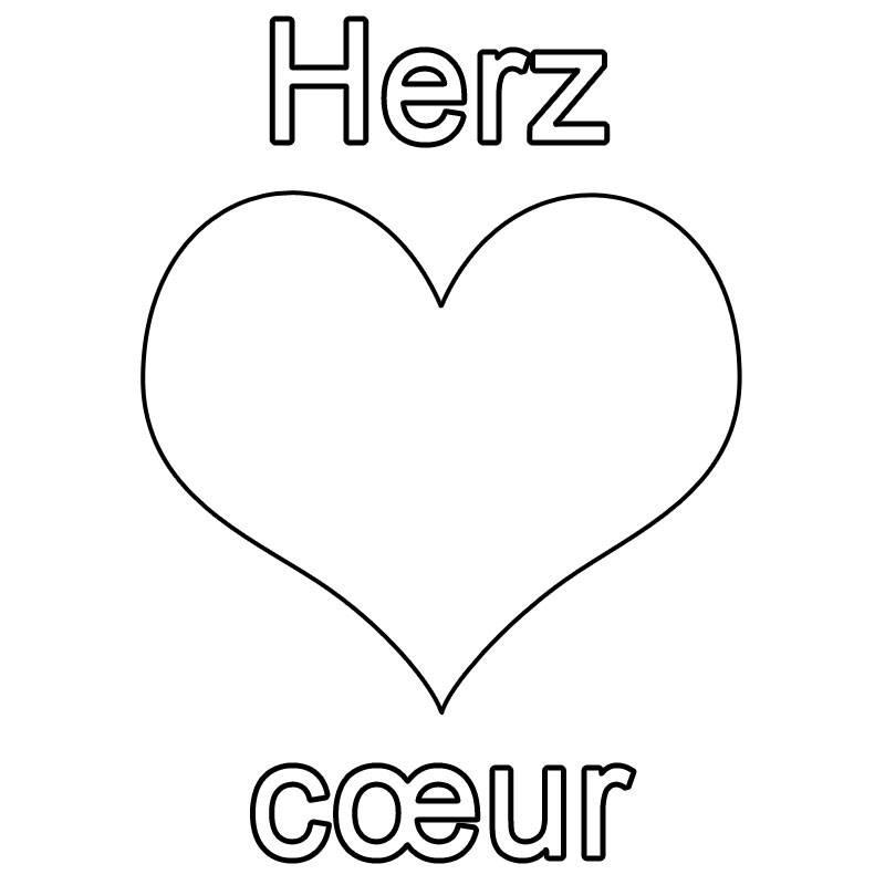 Ausmalbild Französisch Lernen Herz Cœur Kostenlos Ausdrucken