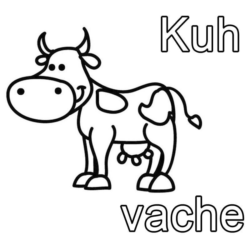 Ausmalbild Französisch lernen: Kuh - vache kostenlos ausdrucken