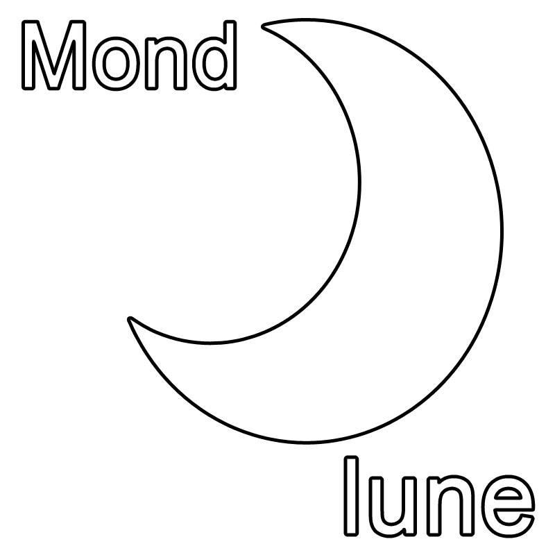Ausmalbild Franzosisch Lernen Mond Lune Kostenlos Ausdrucken