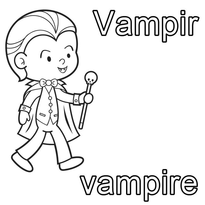 Ausmalbild Französisch Lernen Vampir Vampire Kostenlos