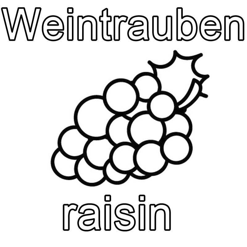 Ausmalbild Französisch lernen: Weintrauben - raisin kostenlos ausdrucken