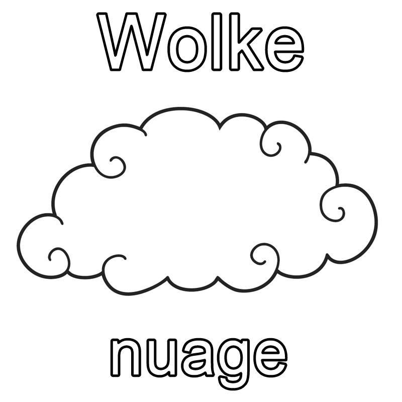 ausmalbild französisch lernen wolke  nuage kostenlos