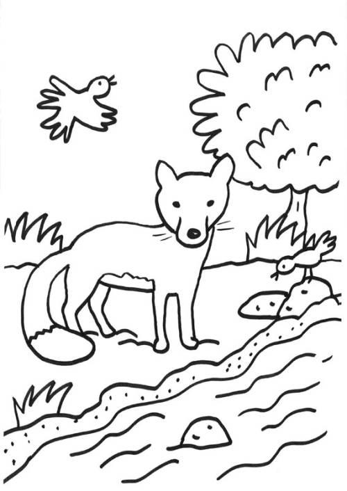 kostenlose malvorlage füchse fuchs am bach zum ausmalen