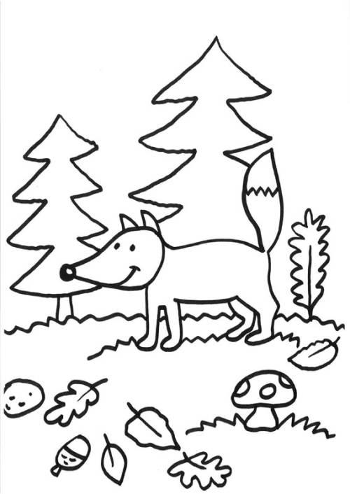 Kostenlose Malvorlage Füchse: Fuchs im Herbst zum Ausmalen