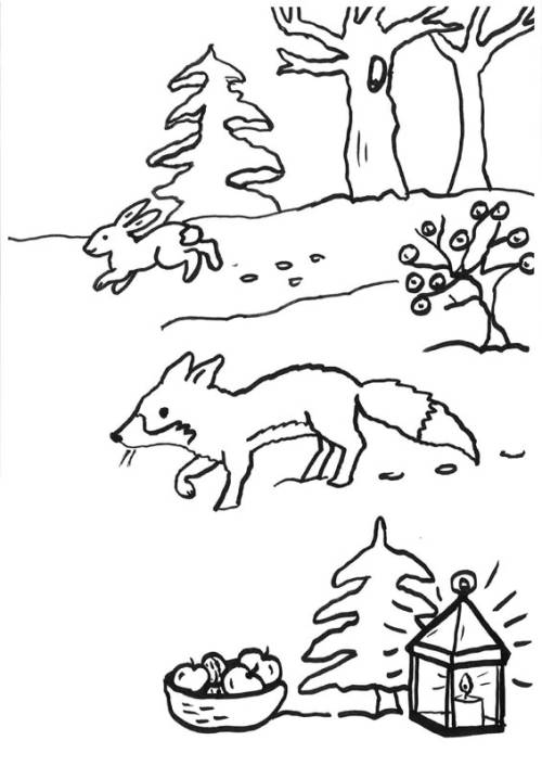 Kostenlose Malvorlage Füchse: Fuchs im Schnee zum Ausmalen