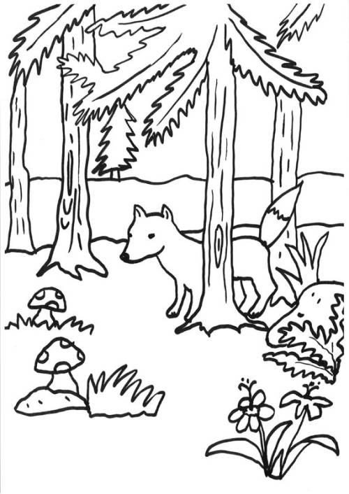 Kostenlose Malvorlage Füchse: Fuchs im Wald zum Ausmalen