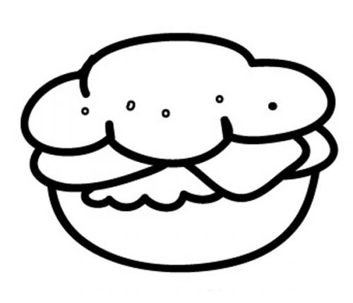 Kostenlose Malvorlage Geburtstag: Hamburger zum Ausmalen zum Ausmalen