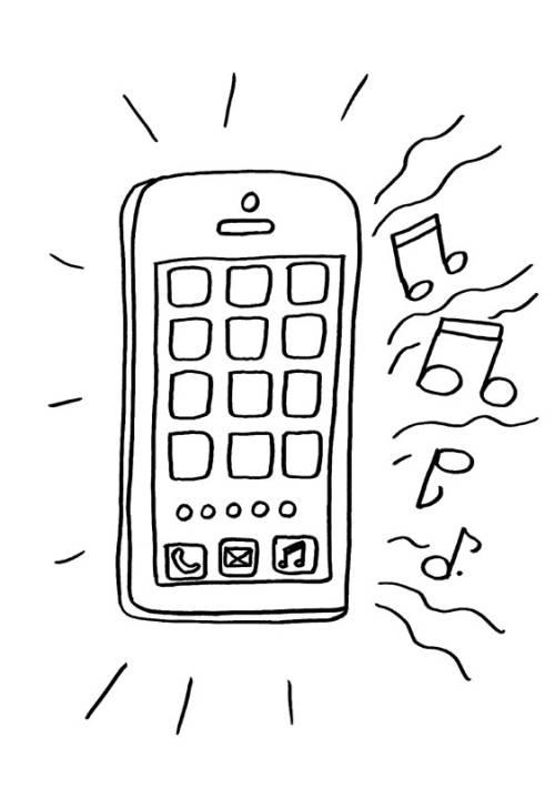 Kostenlose Malvorlage Handy: Handy zum Ausmalen