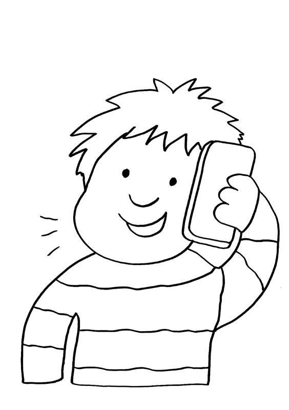 Afbeeldingen Kleurplaten Robot Ausmalbild Handy Junge Telefoniert Kostenlos Ausdrucken
