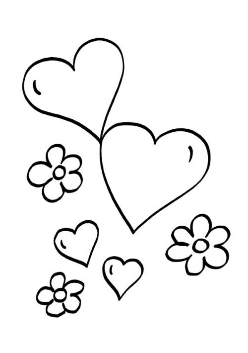 Kostenlose Malvorlage Herzen: Herzen und Blumen zum Ausmalen
