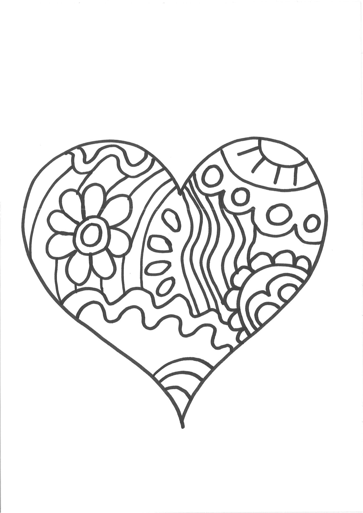 Kostenlose Malvorlage Herzen: Herz zum Ausmalen zum Ausmalen