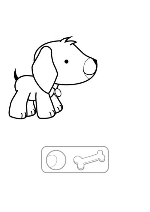Kostenlose Malvorlage Hunde: Welpe und Knochen ausmalen zum Ausmalen