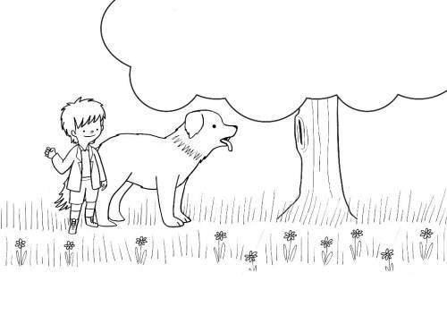Kostenlose malvorlage hunde junge und hund gehen gassi
