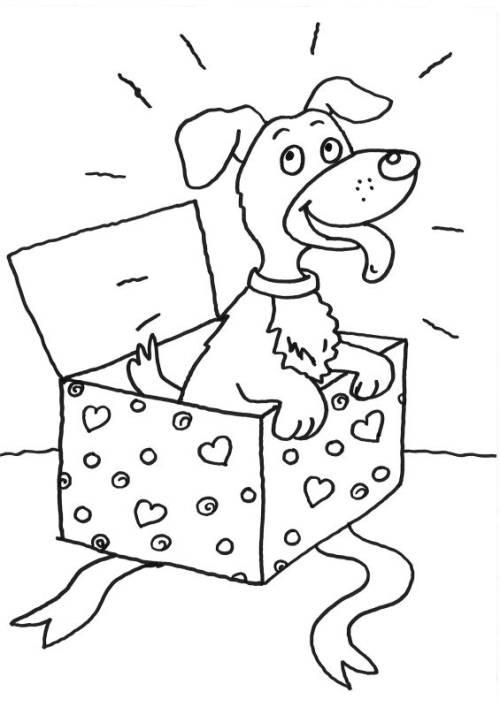 Kostenlose Malvorlage Hunde: Hund im Geschenk zum Ausmalen