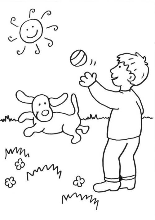 kostenlose malvorlage hunde hund spielt zum ausmalen