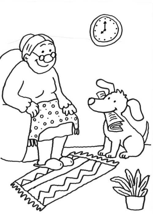 Kostenlose Malvorlage Hunde: Hund und Oma ausmalen zum Ausmalen