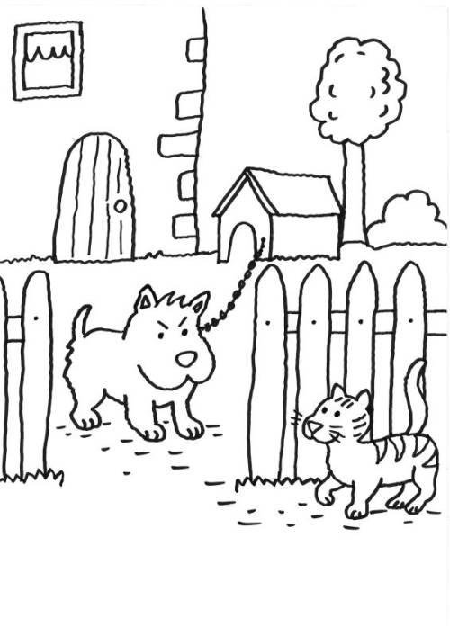 Kostenlose Malvorlage Hunde: Wachhund und Katze zum Ausmalen