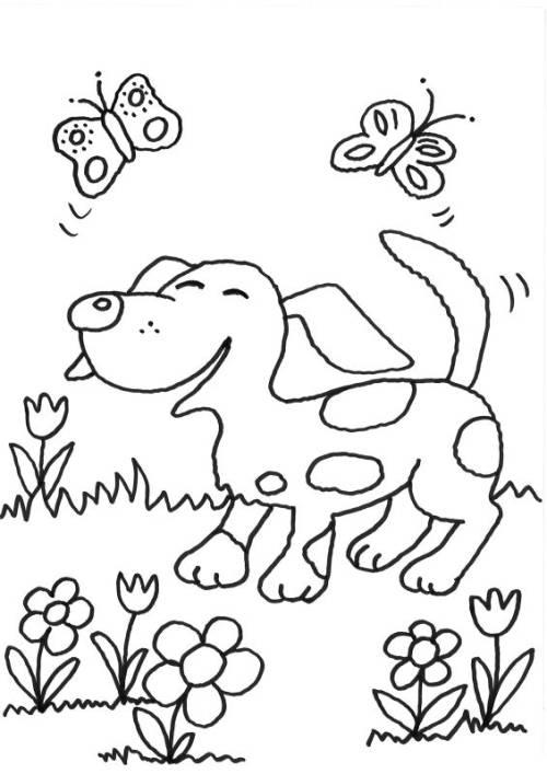 Kostenlose Malvorlage Hunde Hund Und Schmetterlinge Zum