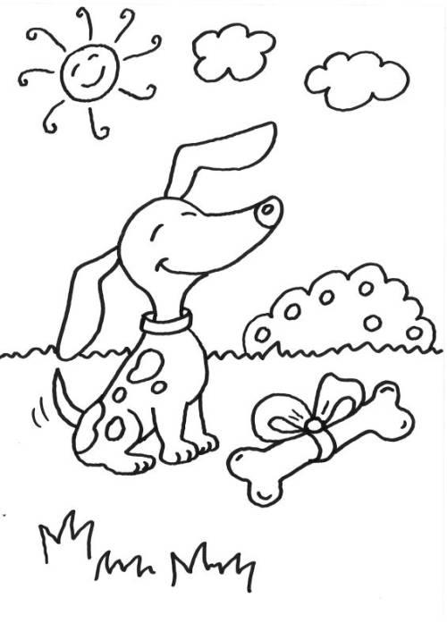 kostenlose malvorlage hunde hund mit knochen ausmalen zum