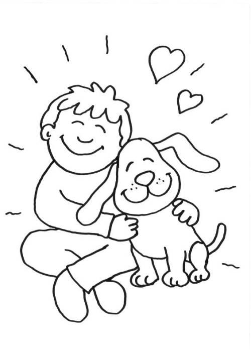 Kostenlose Malvorlage Hunde: Junge und hund kuscheln zum Ausmalen