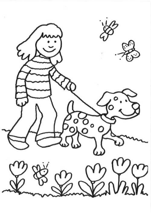 Kostenlose Malvorlage Hunde: Spaziergang mit dem Hund ausmalen zum