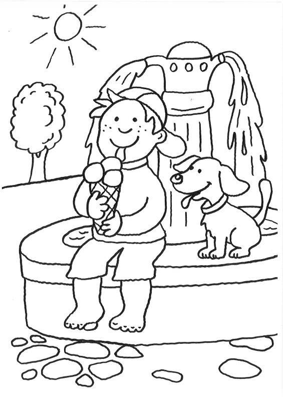 Ausmalbild Hunde Hund Und Junge Beim Eisessen Ausmalen