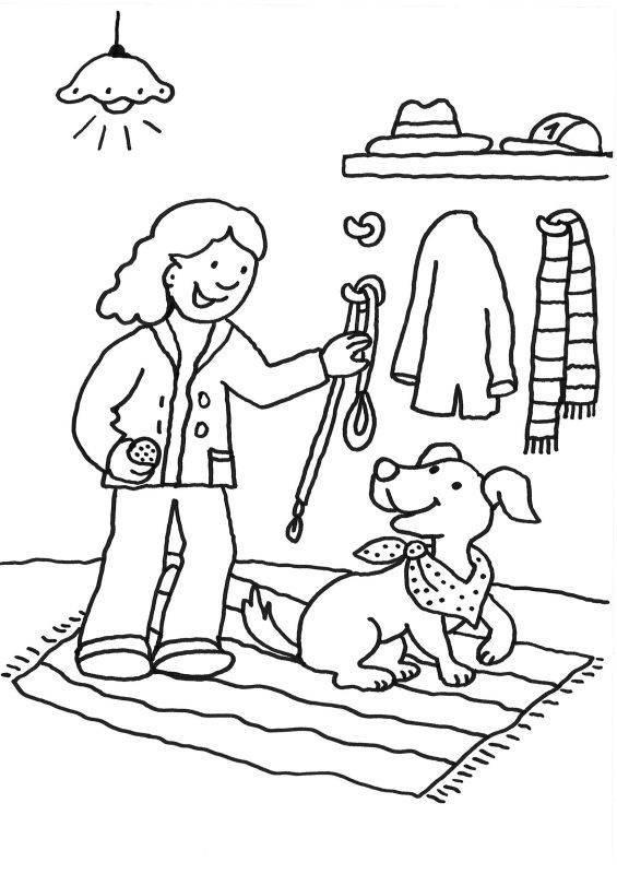 ausmalbild hunde frauchen und hund gehen gassi kostenlos
