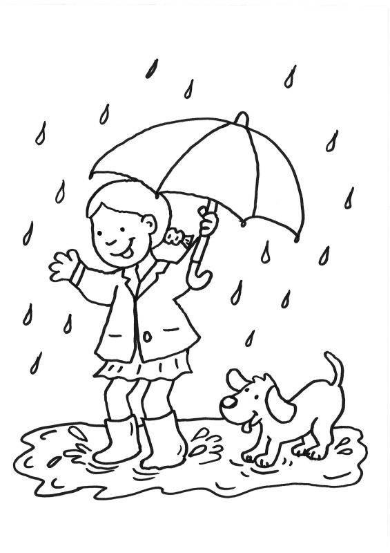 Ausmalbild Hunde: Mädchen und Hund im Regen ausmalen kostenlos ...