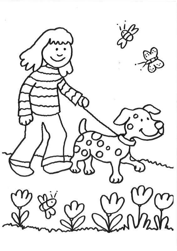 ausmalbild hunde spaziergang mit dem hund ausmalen