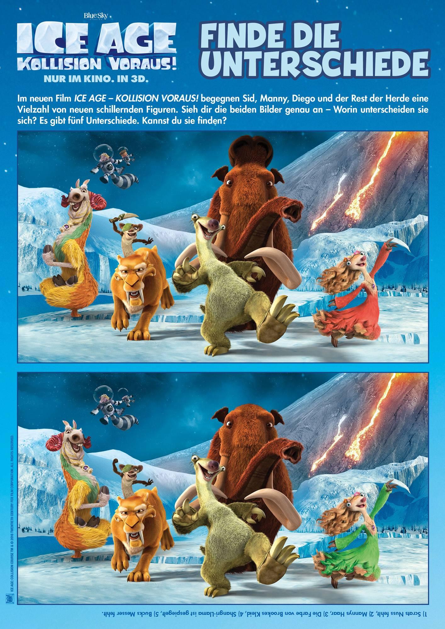 Ausmalbild Suchbilder Für Kinder Ice Age Unterschiede Finden
