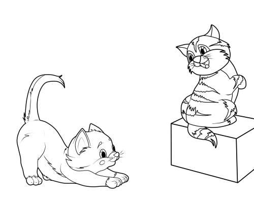 kostenlose malvorlage katzen: zwei kätzchen zum ausmalen