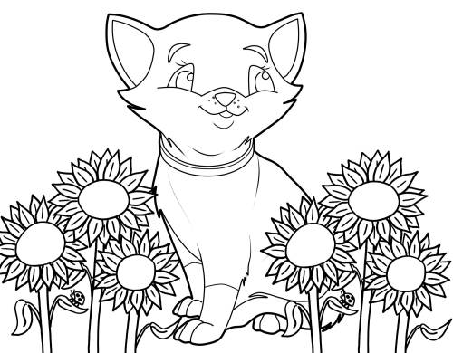 Kostenlose Malvorlage Katzen: Katze und Sonnenblumen zum ...
