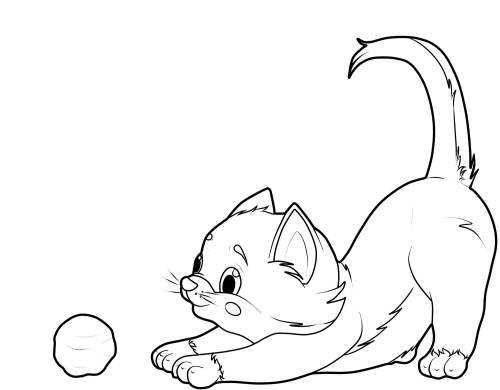 Kostenlose Malvorlage Katzen Katze Mit Wollknäuel Zum Ausmalen