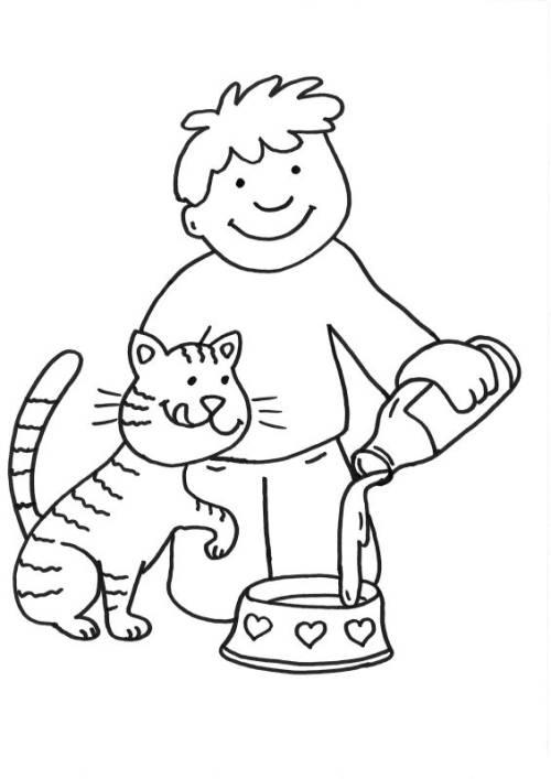 Kostenlose Malvorlage Katzen: Katze bekommt Milch zum Ausmalen