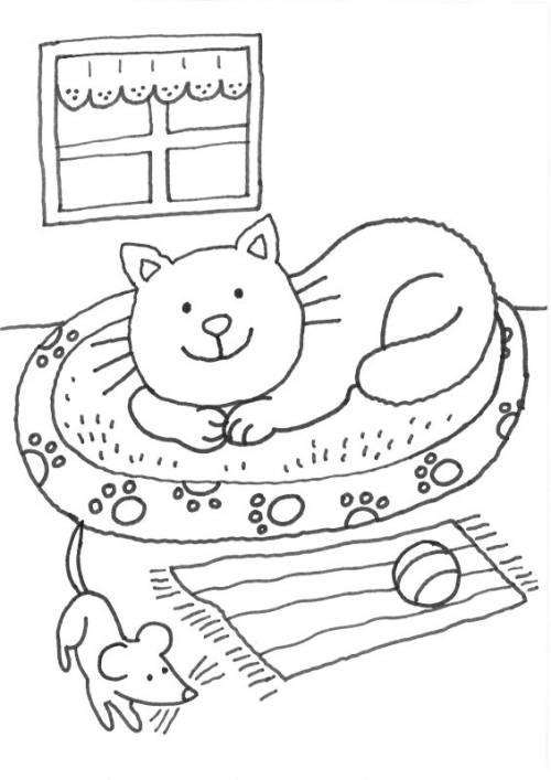 kostenlose malvorlage katzen katze im k rbchen ausmalen zum ausmalen. Black Bedroom Furniture Sets. Home Design Ideas