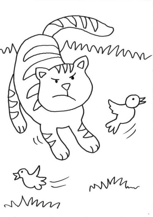 kostenlose malvorlage katzen: katze jagd vogel zum ausmalen