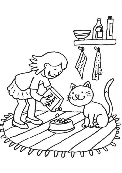 kostenlose malvorlage katzen katze wird gefüttert zum