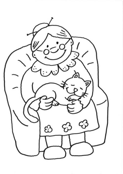 Kostenlose Malvorlage Katzen Oma Streichelt Katze Zum Ausmalen